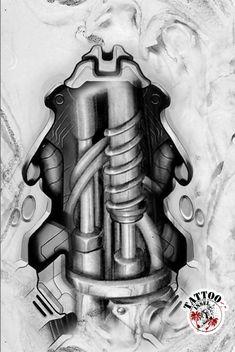 Biomechanik Tattoo Motiv Tattooideen Tattoo Design Drawings, Tattoo Sketches, Tattoo Designs, Ozzy Tattoo, Biomechanical Tattoo Design, Ripped Skin Tattoo, Tech Tattoo, Bio Organic Tattoo, Robot Tattoo