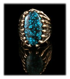 Gold Mens Turquoise Ring- Durango Silver Company produces some of the finest quality Turquoise Jewelry coming out of the American Southwest today!