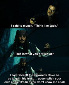 Pirates of the Caribbean: At World's End this is what you arrived at? Lead Beckett to Shipwreck Cove so as to gain his trust ... accomplish your own ends? It's like you don't know me at all.