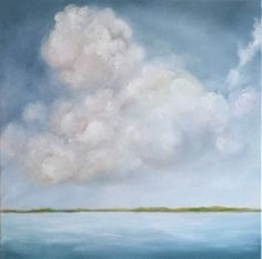 Oil on canvas, original painting, seascape painting,  home decor, storm clouds, blue water- Smooth Sailing