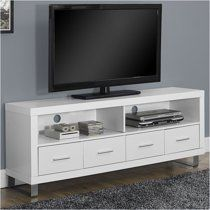 Monarch Specialties White Hollow-Core TV Console with 4 Drawers, Bring convenient media storage to your home with this contemporary pure white TV White Tv Stands, Cool Tv Stands, Muebles Rack Tv, 60 Tv Stand, Flat Panel Tv, Tv Consoles, Wood Drawers, Storage Drawers, Record Storage