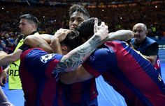 Luis Suarez (R) of Barcelona celebrates scoring his team's second goal with Neymar (C) and Lionel Messi of Barcelona during the UEFA Champions League Final between Juventus and FC Barcelona at Olympiastadion on June 6, 2015 in Berlin, Germany.