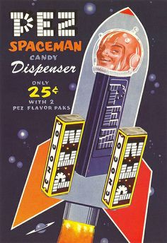 This vintage Pez packaging inspired by  the moon exploration...and a groovy spaceman!