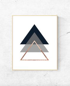 Free Printable Geometric triangles rose gold wall art