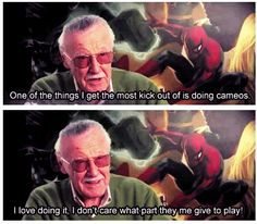 """I get a kick out of your cameos too, Stan Lee. """"Superheroes, in New York? Give me a break"""""""