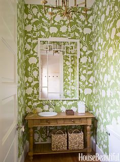 a powder room is a great place to make a big wallpaper statement this - Bathroom Wallpaper Ideas