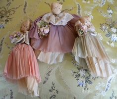 Trio of Cute 1940s Crepe Paper Dolls by playback on Etsy, $44.00
