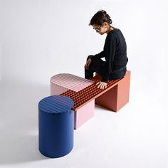 Urban Shapes, modular bench, geometric and colorful by nortstudio Multifunctional Furniture, Modular Furniture, Urban Furniture, Small Furniture, Home Furniture, Furniture Design, Geometric Furniture, Furniture Ideas, Furniture Buyers