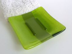 Square Soap Dish in Shades of Green by bprdesigns on Etsy, $16.00