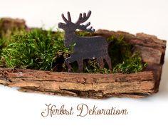 One pin a week Herbst Dekoration mit Moos Baumrinde und Elchen