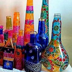 pixels (Old Monk Bottle Painting) Glass Bottle Crafts, Wine Bottle Art, Painted Wine Bottles, Diy Bottle, Bottles And Jars, Beer Bottle, Jar Crafts, Diy And Crafts, Altered Bottles