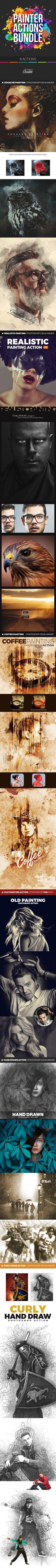 Photoshop Painter Actions Bundle - Photo Effects Actions. Download here: https://graphicriver.net/item/painter-bundle/16960273?s_rank=170&ref=yinkira