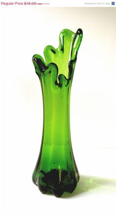 BIG SALE Mid Century 50s Green Splash Vase by BellaLaineVintage, $11.20