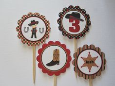 12 Personalized Cowboy Cupcake Toppers. $8.00, via Etsy.