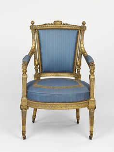 """1785-1790 French Armchair at the Victoria and Albert Museum, London - From the curators' comments: """"At the top of this chair is carved the monogram MA for Marie-Antoinette, queen to Louis XVI of France. We do not know which of her palaces it comes from, although Sené supplied similar suites of chairs to her at the Château de Saint-Cloud, at Versailles and at the Tuileries."""""""