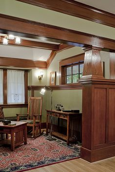 Laurelhurst 1912 Craftsman Sitting Room Beams Walls Woodwork Paneling Window Light Fixture Colour Paint Maybe This Color In The Living