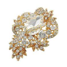 "Gold Tone Clear Glass Rhinestone Encrusted Brooch Gold Tone / Clear Glass & Rhinestone / Lead&nickel Compliant / Brooch •   2 1/8"" W X 3"" L   •   GOLD/CLEAR R.E.A.L Jewelry Jewelry Brooches"