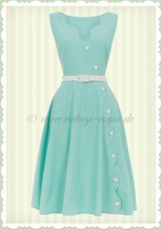 Voodoo Vixen 50er Jahre Vintage Swing Kleid - Nettie - Mint Türkis