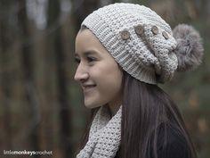 Elena Slouch Hat Crochet Pattern | Free button slouchy hat crochet pattern by Little Monkeys Crochet