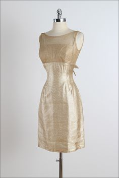 Vintage 1950s Gold Lurex Illusion Dress | From a collection of rare vintage evening dresses at https://www.1stdibs.com/fashion/clothing/evening-dresses/