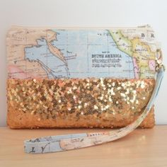 World map travel makeup cosmetic toiletry wash bag accessories i world map clutch bag sequin clutch bag by missengagedboutique gumiabroncs Image collections