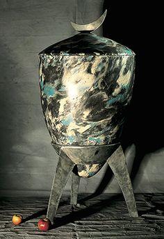 coloured concrete urn, zinc plated steel details, UK Rose Arbor, Steel Detail, Furniture Making, Interior And Exterior, Concrete, Sculpture, Color, Home Decor, Decoration Home