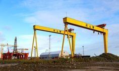 Harland & Wolff shipyard Belfast, the home of the Titanic. Samson and Goliath, the cranes that were once the biggest in the world Bucket List Holidays, Belfast Northern Ireland, Love Ireland, Emerald Isle, London Calling, Canvas Ideas, String Art, Titanic, Day Trips