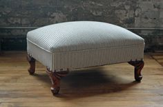 Vintage Rectangular Upholstered Ottoman with Indigo Striped Hemp Linen by territoryhardgoods, $145.00