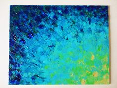 SALE - Original Abstract Painting, 8 x 10 FREE SHIPPING Beach Ocean Water Waves Summer Home Decor Navy Royal Blue Turquoise Teal Lime Green. $ 75.00, via Etsy.