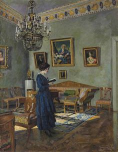◇ Artful Interiors ◇ paintings of beautiful rooms - Sergei Arsenevich Vinogradov | Young Woman Reading, 1919
