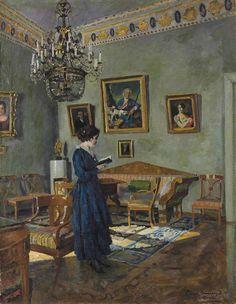 ◇ Artful Interiors ◇ paintings of beautiful rooms - Sergei Arsenevich Vinogradov   Young Woman Reading, 1919