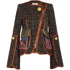 Peter Pilotto Embroidered tweed jacket ($2,015) ❤ liked on Polyvore featuring outerwear, jackets, utility jacket, pocket jacket, polka dot jacket, checked jacket and peter pilotto