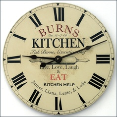 A custom kitchen clock by John Borin makes the perfect gift.