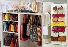 10 maneras ingeniosas de cómo organizar bolsos y carteras en casa   Manualidades