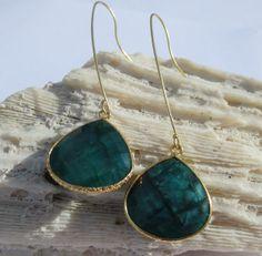 Green emerald long hook earrings by PanachebyAmanda on Etsy, $46.20