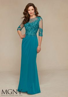 Jersey with Venice Lace Appliqués and Beading Design Evening Gown/Mother of the Bride Dress Designed by Madeline Gardner. Colors available: Light Gold, Teal, Black.