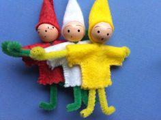 Miniature Elf Pixie Gnome Felt Dolls Ornaments.