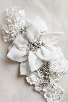 Beaded bridal headpiece by @Percy Handmade