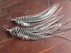Silver Fringe Earrings Natural Feather Earrings by PrettyVagrant