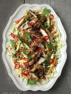 Bang Bang Chicken Salad - get recipe here: http://www.dailymail.co.uk/femail/food/article-3760452/The-Hairy-Bikers-Bang-bang-chicken-salad.html