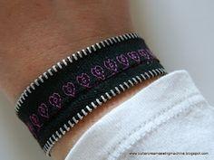 Embroidery Bracelets Patterns Buttercream and a Sewing Machine: Tutorial: Zipper Bracelet Zipper Bracelet, Zipper Jewelry, Leather Jewelry, Memory Wire Bracelets, Handmade Bracelets, Friendship Bracelets, Handmade Jewellery, Diy Jewelry, Butterfly Embroidery