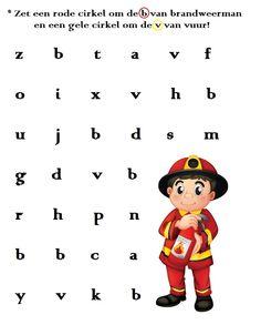* Zet een rode cirkel om de b van brandweerman en een gele om de v van vuur!