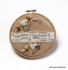Μπομπονιέρα Βάπτισης Τελάρο μουσικές νότες ZAF-1473