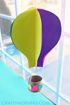 Spinning Hot Air Balloon Craft for Kids to Make - Crafty Morning - Spinning Hot Air Balloon Craft for Kids to Make – Crafty Morning - Balloon Crafts Preschool, Hot Air Balloon Craft For Kids, Ballon Crafts, Diy Hot Air Balloons, Body Preschool, Balloon Balloon, Crafts For Kids To Make, Art For Kids, Craft Kids