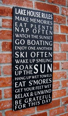 Lake House Rules: fun sign for the screened in porch @ Home DIY Remodeling