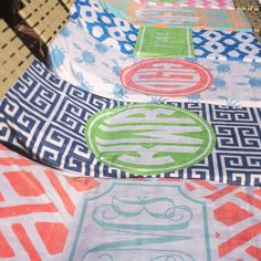 love! colorful monogrammed beach towels from haymarket designs