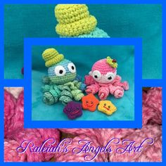 """""""Octopus Baby"""", crocheted decoration: CAD 28.- (+ shipping fee) """"Sea Star"""", crocheted decoration: CAD 6.- (+ shipping fee) © Raleiah's Angels Art Creations www.raleiahs-angels.com Octopus, New Darlings, Nature Spirits, Yarn Shop, Decoration, Crochet Necklace, Angels, Art Gallery, Creations"""