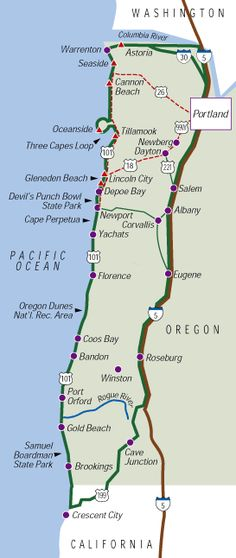 Oregon coast itinerary.