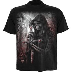 Graphic men's t-shirt from the gothic clothing collection by Spiral Direct, beautiful black, white and red print of a shrouded Death figure with sword.