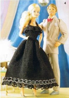 Free Knitted Black Evening Dress Pattern for 11-13 inch Barbie Doll